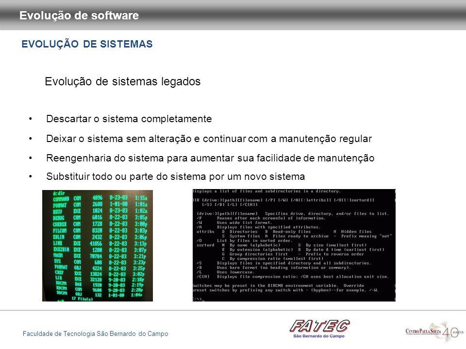 EVOLUÇÃO DE SISTEMAS Evolução de software Faculdade de Tecnologia São Bernardo do Campo Evolução de sistemas legados Descartar o sistema completamente