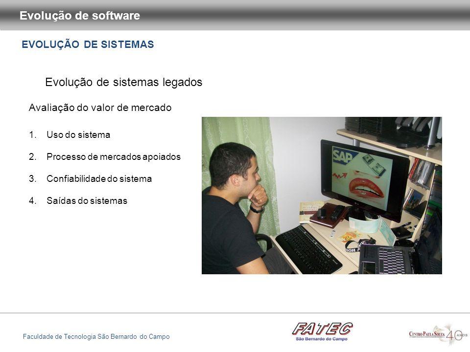 EVOLUÇÃO DE SISTEMAS Evolução de software Faculdade de Tecnologia São Bernardo do Campo Evolução de sistemas legados Avaliação do valor de mercado 1.U