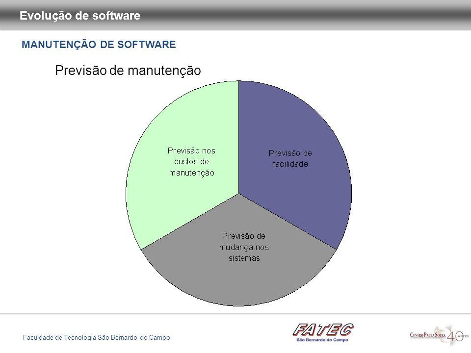 MANUTENÇÃO DE SOFTWARE Evolução de software Faculdade de Tecnologia São Bernardo do Campo Previsão de manutenção