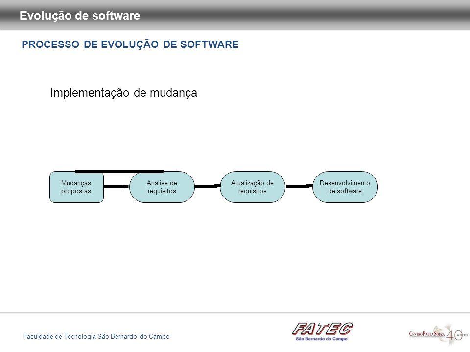 PROCESSO DE EVOLUÇÃO DE SOFTWARE Evolução de software Faculdade de Tecnologia São Bernardo do Campo Implementação de mudança