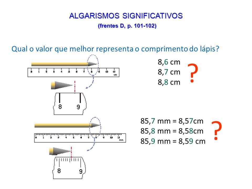 8,6 cm 8,7 cm 8,8 cm ? 85,7 mm = 8,57cm 85,8 mm = 8,58cm 85,9 mm = 8,59 cm ? Qual o valor que melhor representa o comprimento do lápis? ALGARISMOS SIG