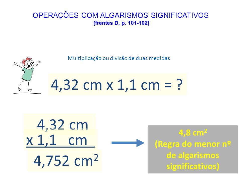 Multiplicação ou divisão de duas medidas 4,32 cm x 1,1 cm = ? 4,32 cm x 1,1 cm 4,752 cm 2 4,8 cm 2 (Regra do menor nº de algarismos significativos) (f
