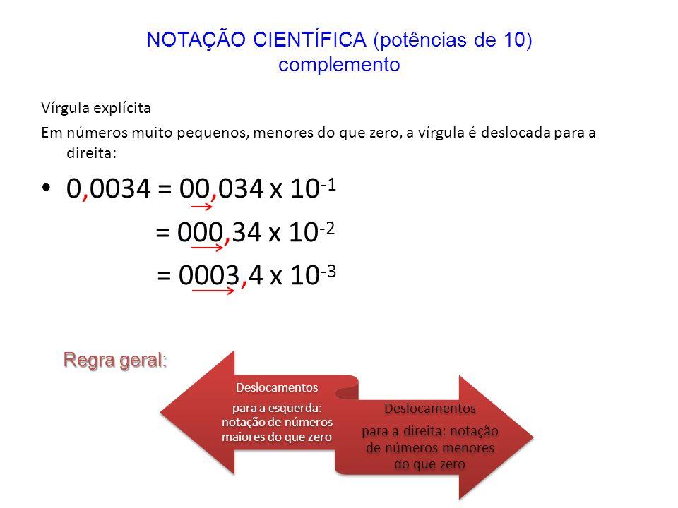 Vírgula explícita Em números muito pequenos, menores do que zero, a vírgula é deslocada para a direita: 0,0034 = 00,034 x 10 -1 = 000,34 x 10 -2 = 000
