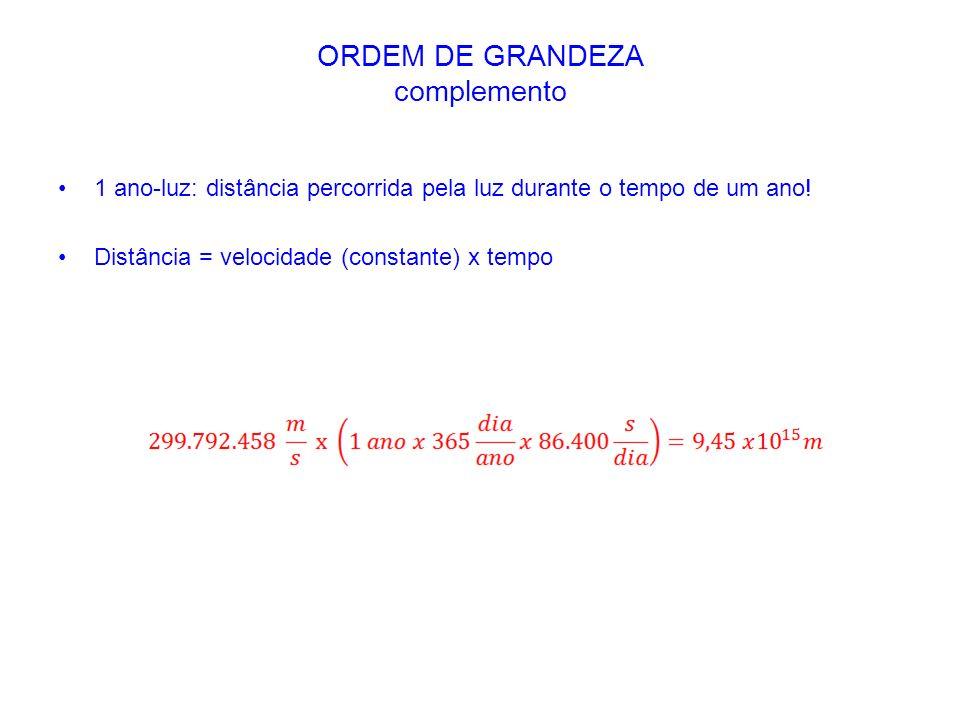 1 ano-luz: distância percorrida pela luz durante o tempo de um ano! Distância = velocidade (constante) x tempo ORDEM DE GRANDEZA complemento