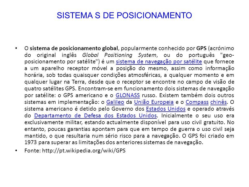 O sistema de posicionamento global, popularmente conhecido por GPS (acrónimo do original inglês Global Positioning System, ou do português