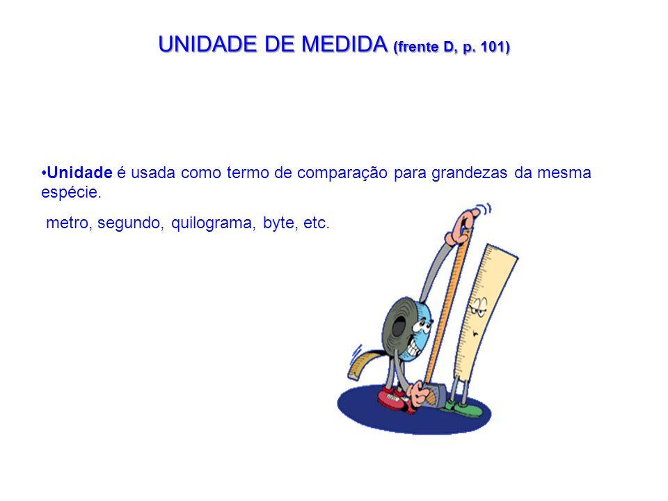 UNIDADE DE MEDIDA (frente D, p. 101) Unidade é usada como termo de comparação para grandezas da mesma espécie. metro, segundo, quilograma, byte, etc.