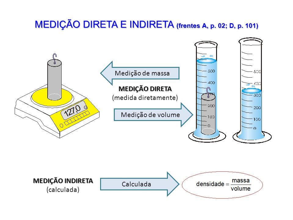 MEDIÇÃO DIRETA E INDIRETA (frentes A, p. 02; D, p. 101) MEDIÇÃO DIRETA (medida diretamente) Medição de volume Medição de massa MEDIÇÃO INDIRETA (calcu