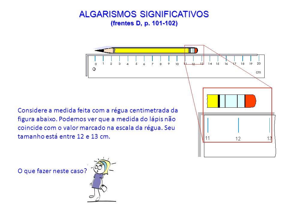 ALGARISMOS SIGNIFICATIVOS (frentes D, p. 101-102) Considere a medida feita com a régua centimetrada da figura abaixo. Podemos ver que a medida do lápi