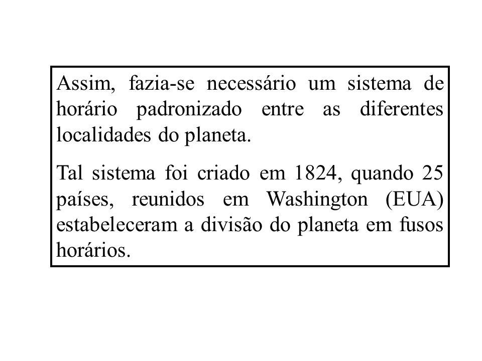 Assim, fazia-se necessário um sistema de horário padronizado entre as diferentes localidades do planeta. Tal sistema foi criado em 1824, quando 25 paí