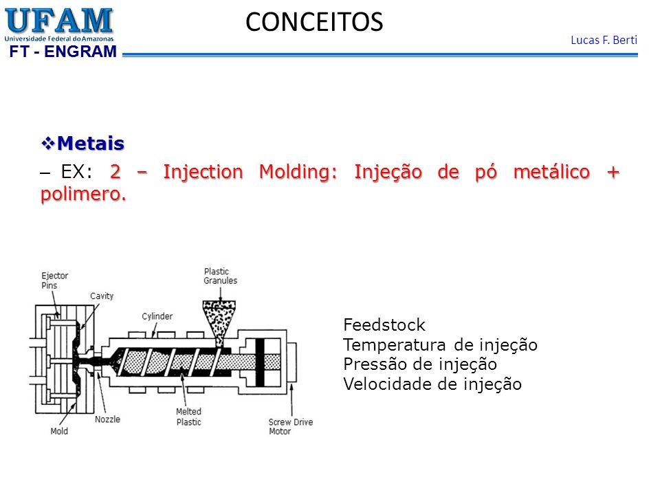 FT - ENGRAM Lucas F. Berti Metais Metais 2 – Injection Molding: Injeção de pó metálico + polimero. – EX: 2 – Injection Molding: Injeção de pó metálico