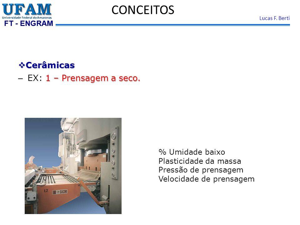 FT - ENGRAM Lucas F. Berti Cerâmicas Cerâmicas 1 – Prensagem a seco. – EX: 1 – Prensagem a seco. CONCEITOS % Umidade baixo Plasticidade da massa Press