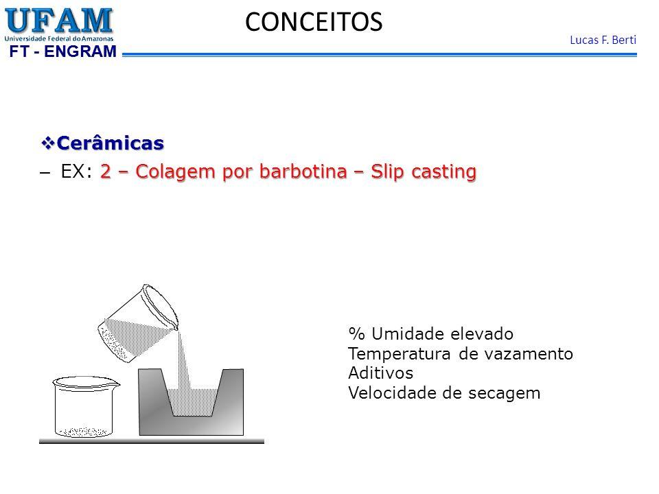 FT - ENGRAM Lucas F. Berti Cerâmicas Cerâmicas 2 – Colagem por barbotina – Slip casting – EX: 2 – Colagem por barbotina – Slip casting CONCEITOS % Umi