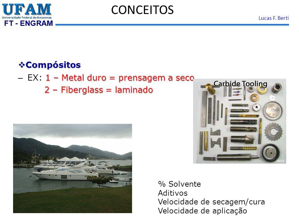 FT - ENGRAM Lucas F. Berti Compósitos Compósitos 1 – Metal duro = prensagem a seco – EX: 1 – Metal duro = prensagem a seco 2 – Fiberglass = laminado 2