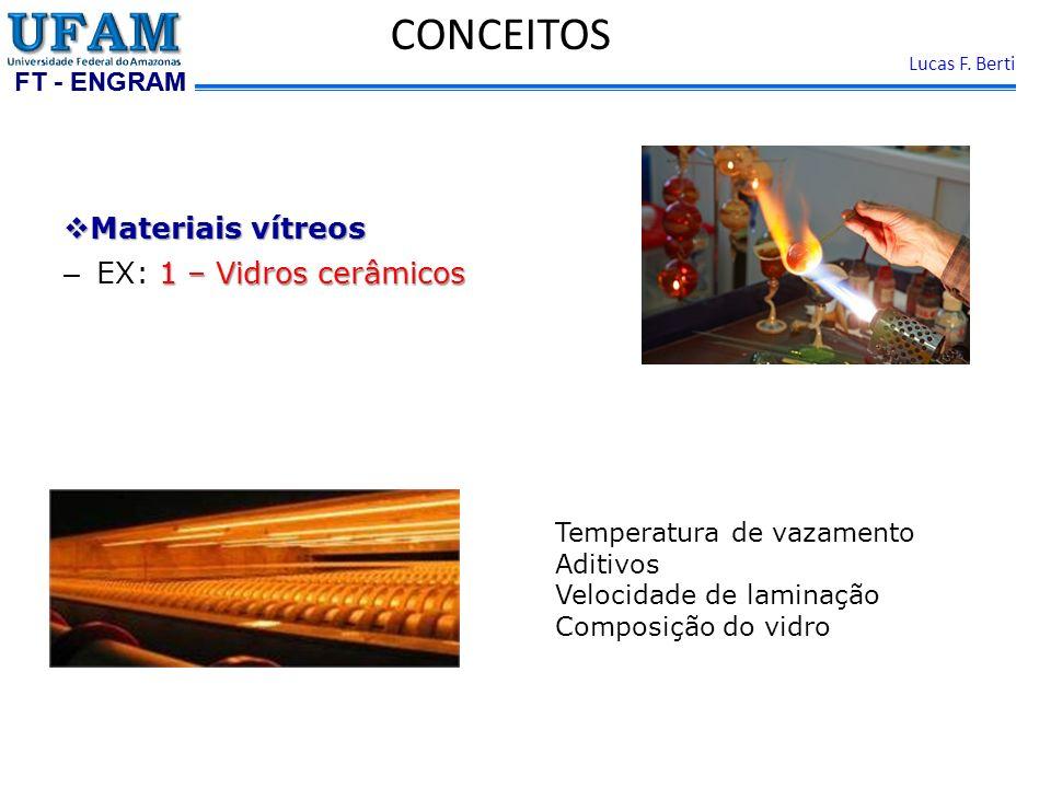 FT - ENGRAM Lucas F. Berti Materiais vítreos Materiais vítreos 1 – Vidros cerâmicos – EX: 1 – Vidros cerâmicos CONCEITOS Temperatura de vazamento Adit