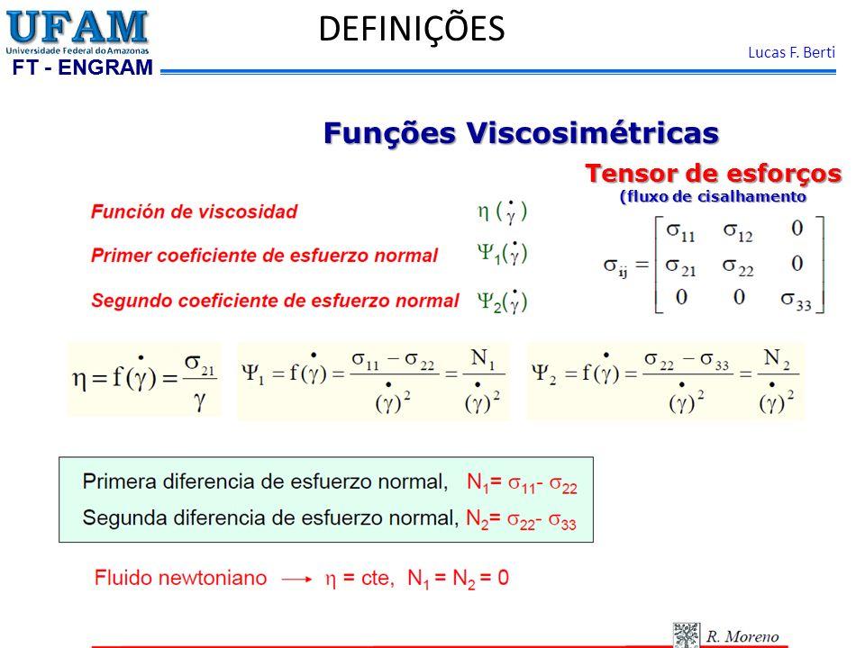 FT - ENGRAM Lucas F. Berti DEFINIÇÕES Funções Viscosimétricas Tensor de esforços (fluxo de cisalhamento estacionário)