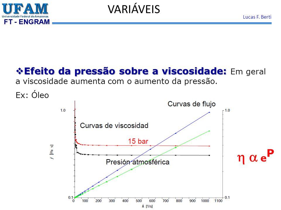 FT - ENGRAM Lucas F. Berti VARIÁVEIS Efeito da pressão sobre a viscosidade: Efeito da pressão sobre a viscosidade: Em geral a viscosidade aumenta com