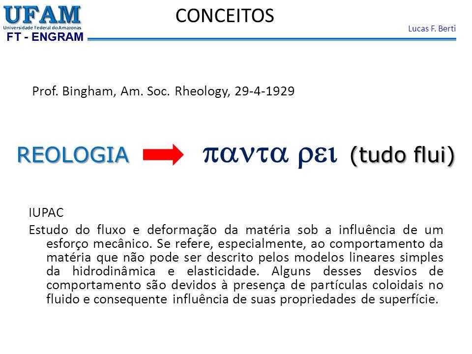FT - ENGRAM Lucas F. Berti Prof. Bingham, Am. Soc. Rheology, 29-4-1929 IUPAC Estudo do fluxo e deformação da matéria sob a influência de um esforço me