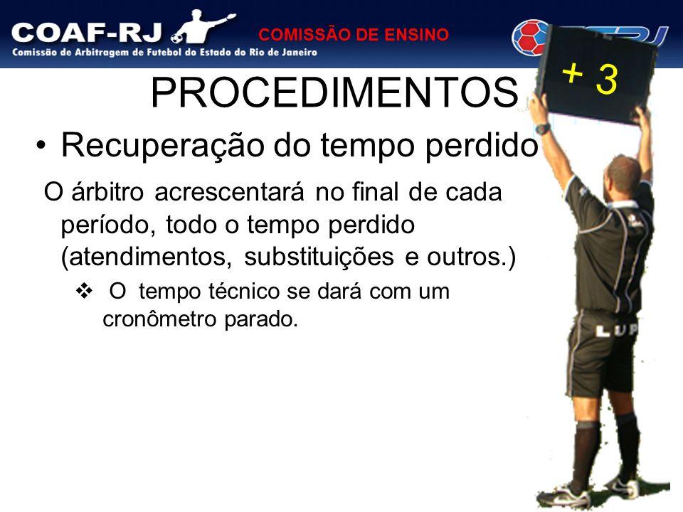 COMISSÃO DE ENSINO PROCEDIMENTOS Recuperação do tempo perdido O árbitro acrescentará no final de cada período, todo o tempo perdido (atendimentos, sub