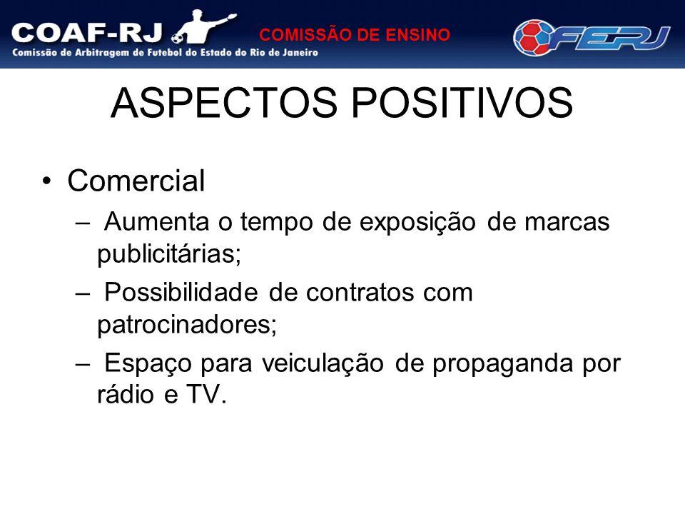 COMISSÃO DE ENSINO ASPECTOS POSITIVOS Comercial – Aumenta o tempo de exposição de marcas publicitárias; – Possibilidade de contratos com patrocinadore