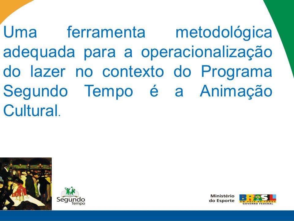 Uma ferramenta metodológica adequada para a operacionalização do lazer no contexto do Programa Segundo Tempo é a Animação Cultural.