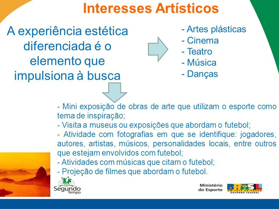 A experiência estética diferenciada é o elemento que impulsiona à busca - Artes plásticas - Cinema - Teatro - Música - Danças - Mini exposição de obra