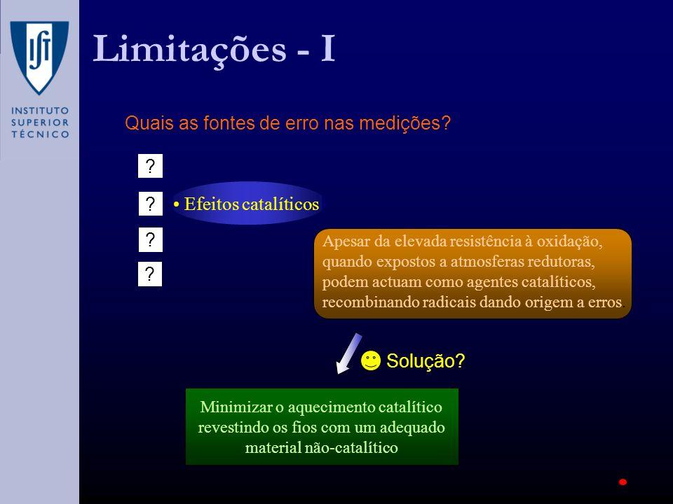 Limitações - I Quais as fontes de erro nas medições? Efeitos catalíticos ? ? ? ? Apesar da elevada resistência à oxidação, quando expostos a atmosfera