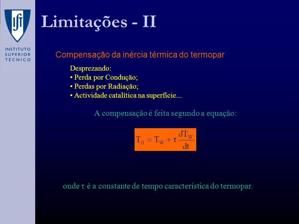 Limitações - II Compensação da inércia térmica do termopar Desprezando: Perda por Condução; Perdas por Radiação; Actividade catalítica na superfície...