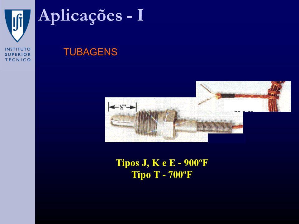 Aplicações - I Tipos J, K e E - 900ºF Tipo T - 700ºF TUBAGENS