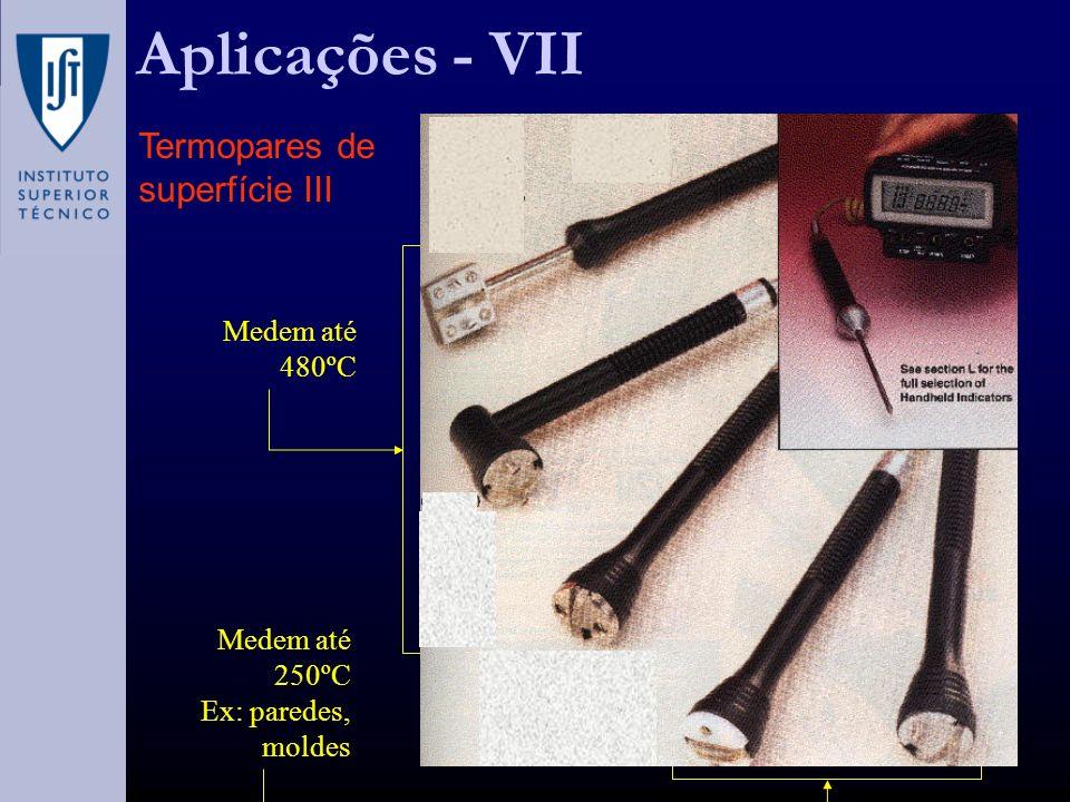 Aplicações - VII Termopares de superfície III Medem até 480ºC Medem até 250ºC Ex: paredes, moldes