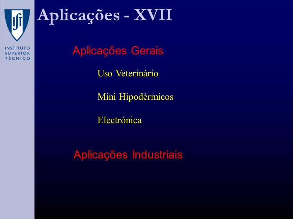 Aplicações Industriais Aplicações Gerais Uso Veterinário Mini Hipodérmicos Electrónica Aplicações - XVII