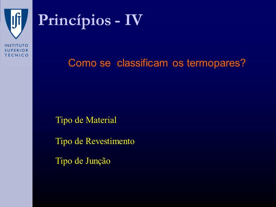 Princípios - IV Como se classificam os termopares? Tipo de Material Tipo de Revestimento Tipo de Junção