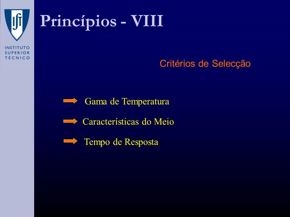 Princípios - VIII Critérios de Selecção Gama de Temperatura Características do Meio Tempo de Resposta