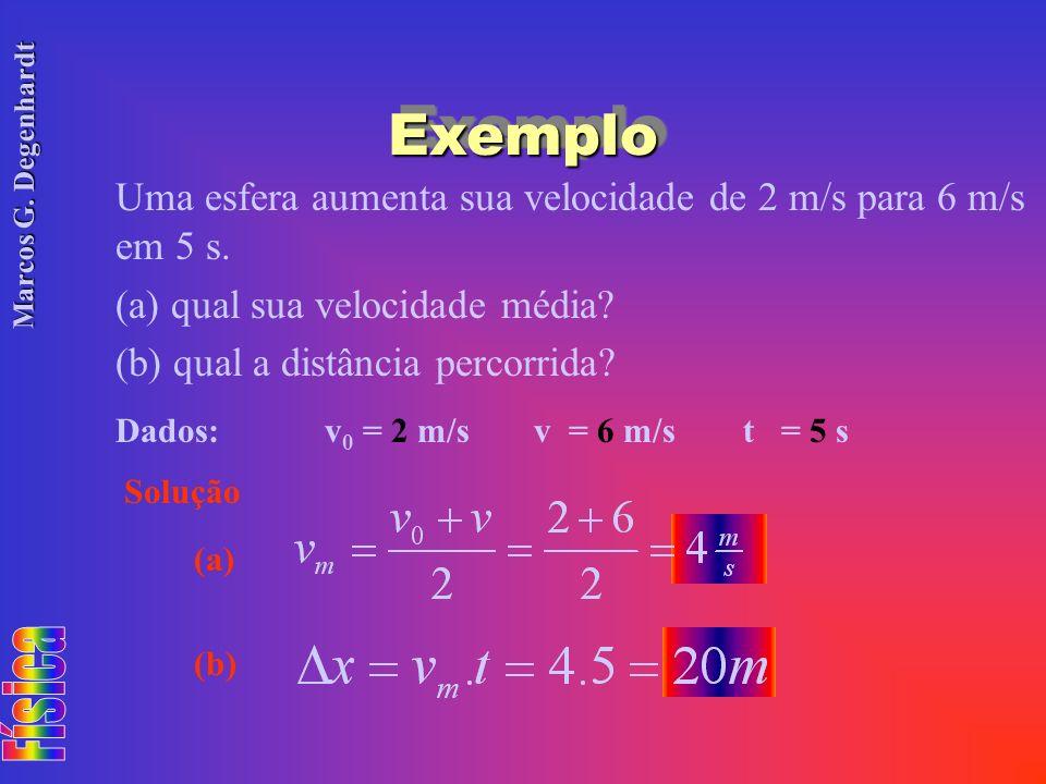 Marcos G. Degenhardt ExemploExemplo Uma esfera aumenta sua velocidade de 2 m/s para 6 m/s em 5 s. (a) qual sua velocidade média? (b) qual a distância