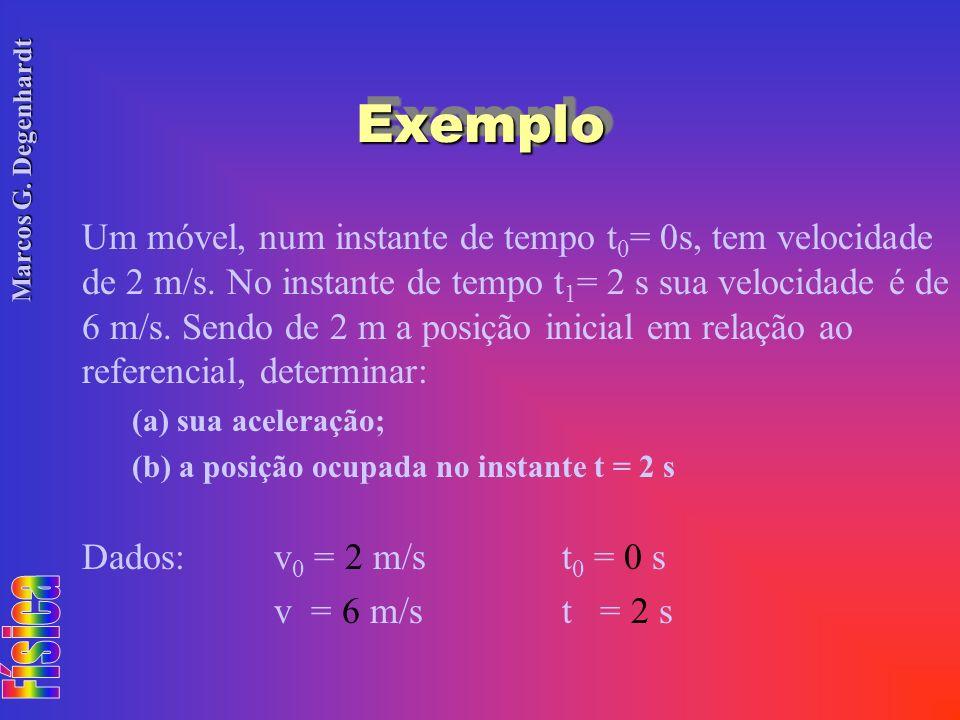 Marcos G. Degenhardt ExemploExemplo Um móvel, num instante de tempo t 0 = 0s, tem velocidade de 2 m/s. No instante de tempo t 1 = 2 s sua velocidade é