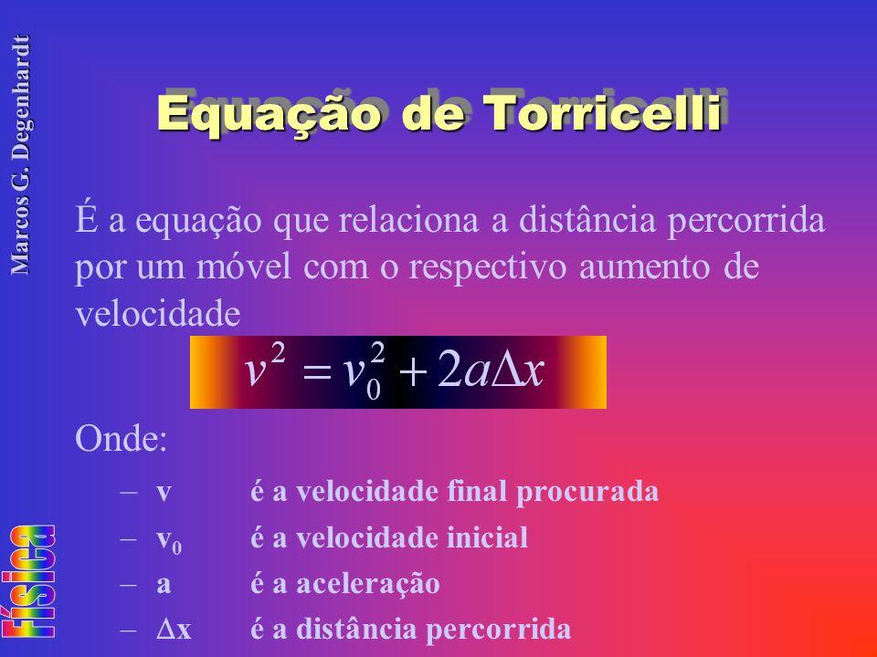 Marcos G. Degenhardt Equação de Torricelli É a equação que relaciona a distância percorrida por um móvel com o respectivo aumento de velocidade Onde: