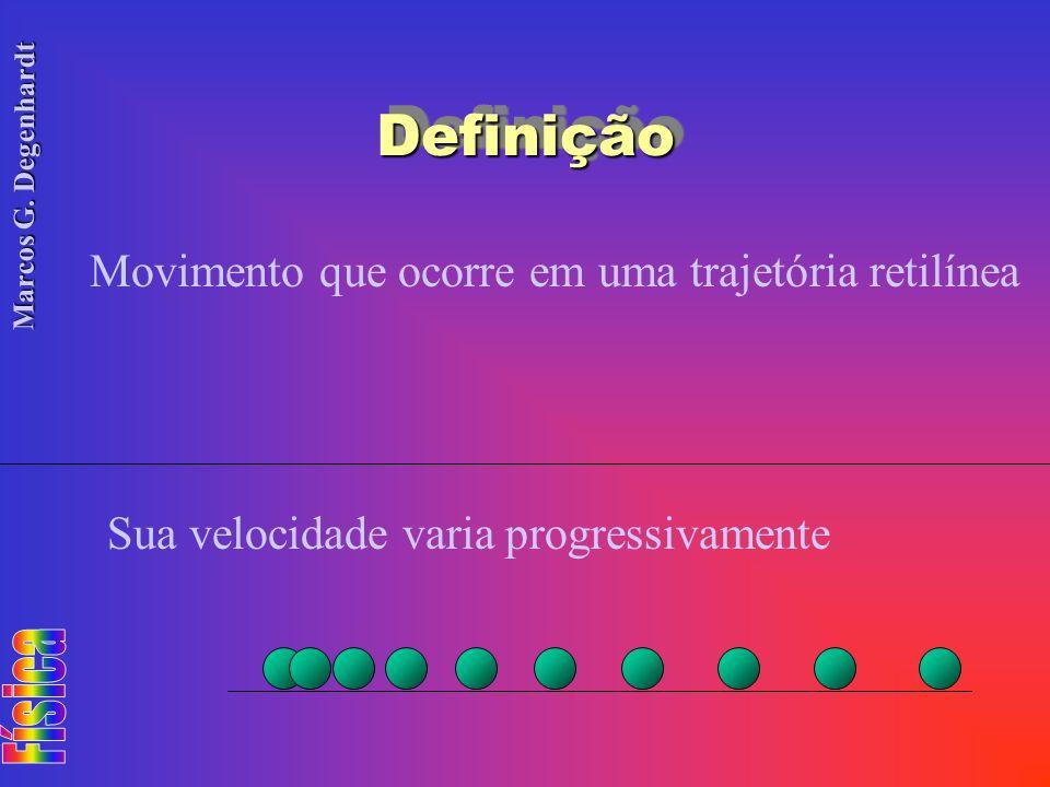 Marcos G. Degenhardt DefiniçãoDefinição Movimento que ocorre em uma trajetória retilínea Sua velocidade varia progressivamente