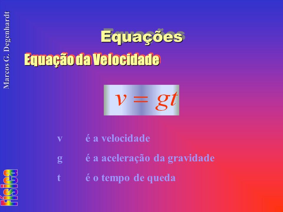 Marcos G. Degenhardt EquaçõesEquações Equação da Velocidade vé a velocidade gé a aceleração da gravidade té o tempo de queda