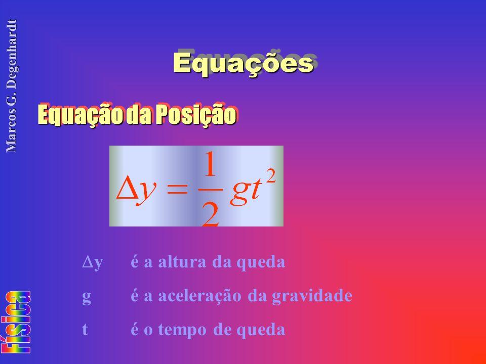 Marcos G. Degenhardt EquaçõesEquações Equação da Posição yé a altura da queda gé a aceleração da gravidade té o tempo de queda