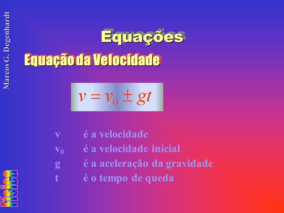 Marcos G. Degenhardt EquaçõesEquações Equação da Velocidade vé a velocidade v 0 é a velocidade inicial gé a aceleração da gravidade té o tempo de qued
