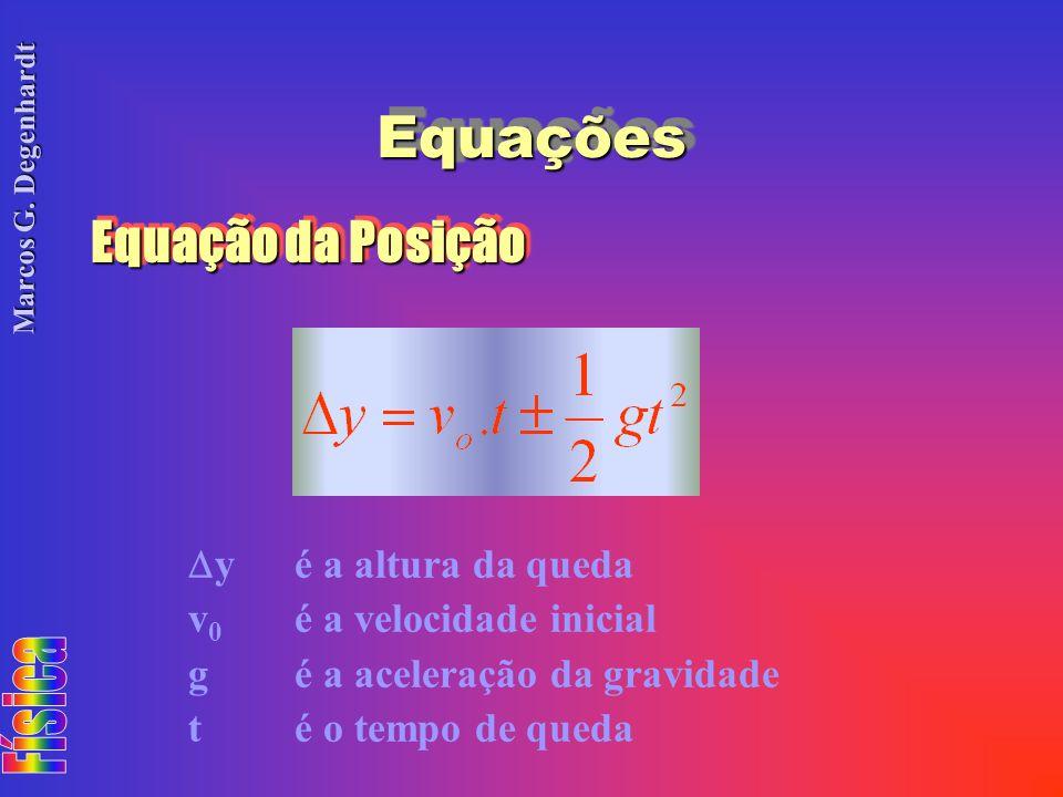 Marcos G. Degenhardt Equação da Posição yé a altura da queda v 0 é a velocidade inicial gé a aceleração da gravidade té o tempo de queda EquaçõesEquaç