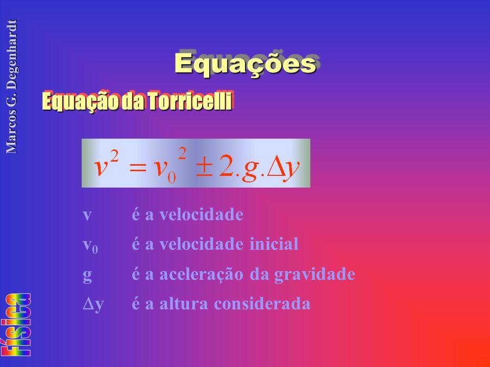 Marcos G. Degenhardt EquaçõesEquações Equação da Torricelli vé a velocidade v 0 é a velocidade inicial gé a aceleração da gravidade yé a altura consid