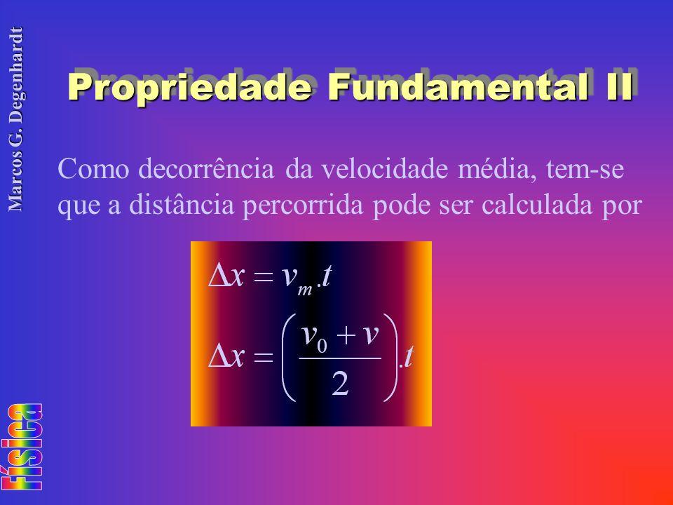 Marcos G. Degenhardt Propriedade Fundamental II Como decorrência da velocidade média, tem-se que a distância percorrida pode ser calculada por