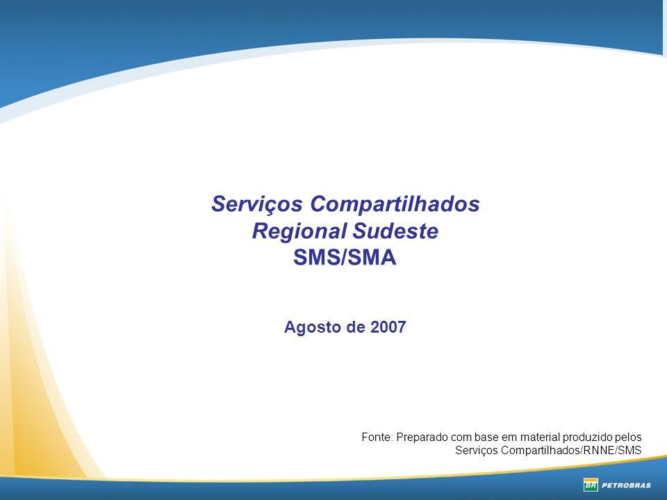 Serviços Compartilhados Regional Sudeste SMS/SMA Agosto de 2007 Fonte: Preparado com base em material produzido pelos Serviços Compartilhados/RNNE/SMS