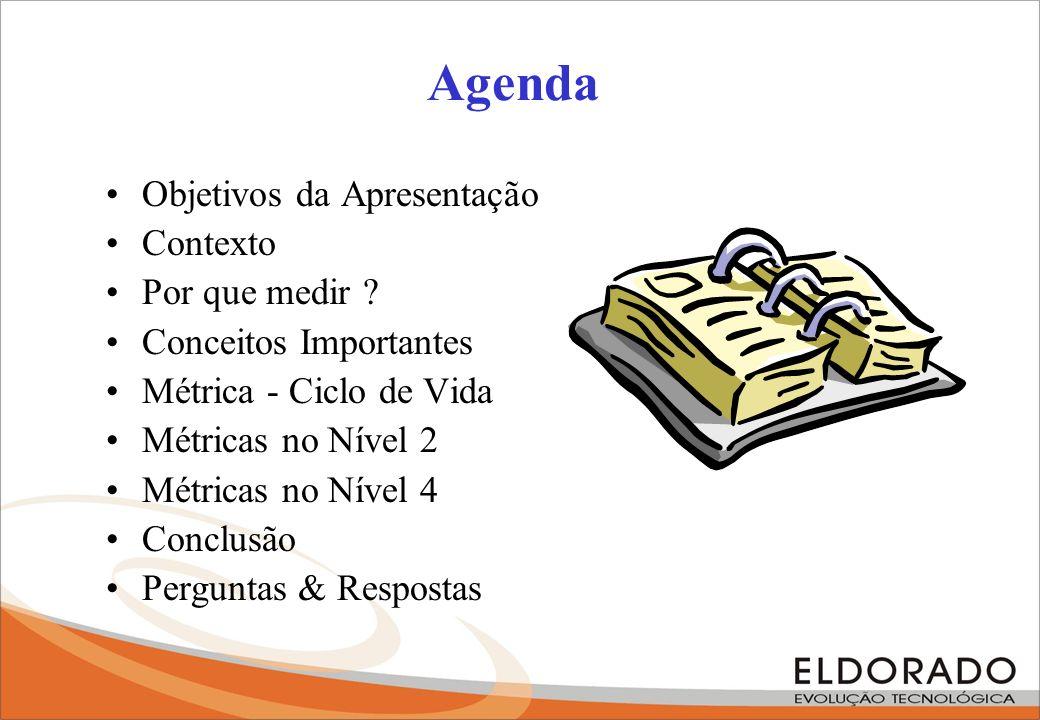 As 4 Razões Caracterizar (processos, produtos, recursos, ambiente, baseline) Avaliar (trazer de volta ao controle) Prever (estimatives, tendências, projeções) Melhorar (identifica problemas.