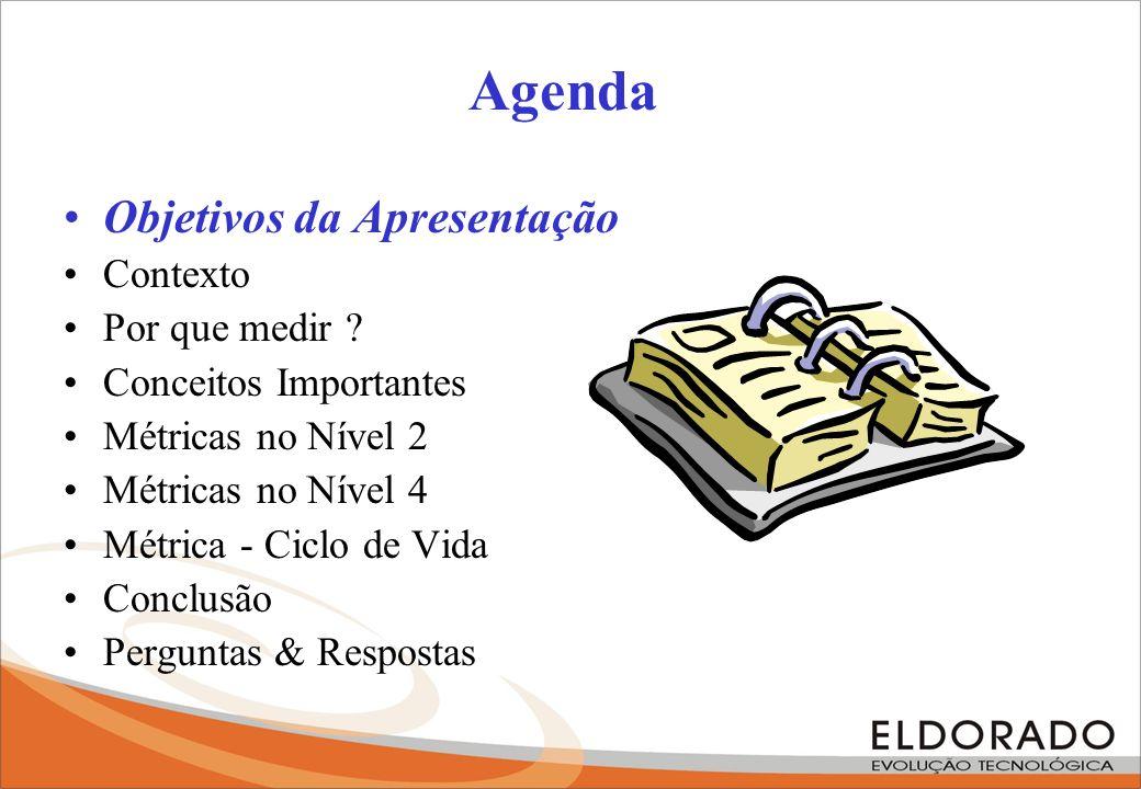 Agenda Objetivos da Apresentação Contexto Por que medir ? Conceitos Importantes Métricas no Nível 2 Métricas no Nível 4 Métrica - Ciclo de Vida Conclu