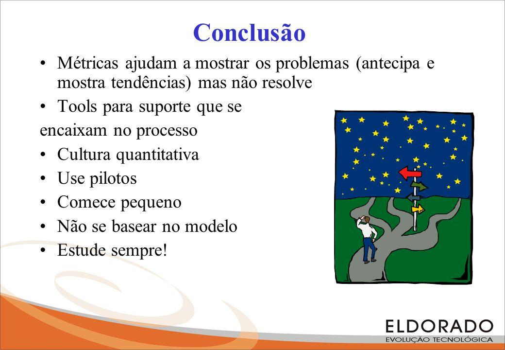 Conclusão Métricas ajudam a mostrar os problemas (antecipa e mostra tendências) mas não resolve Tools para suporte que se encaixam no processo Cultura