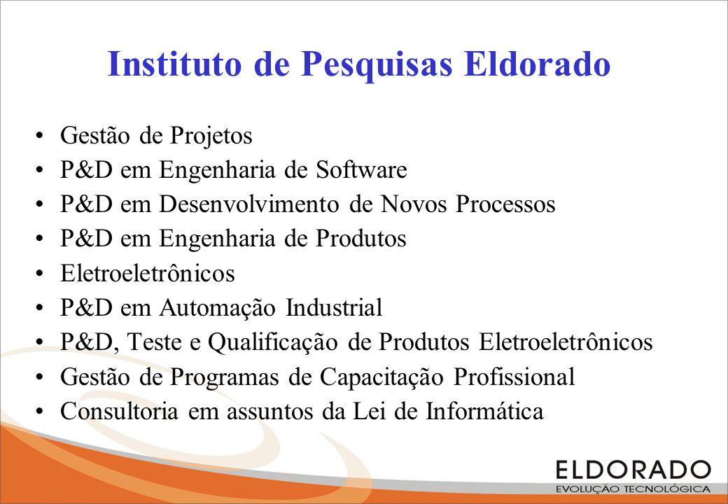 Instituto de Pesquisas Eldorado Gestão de Projetos P&D em Engenharia de Software P&D em Desenvolvimento de Novos Processos P&D em Engenharia de Produt