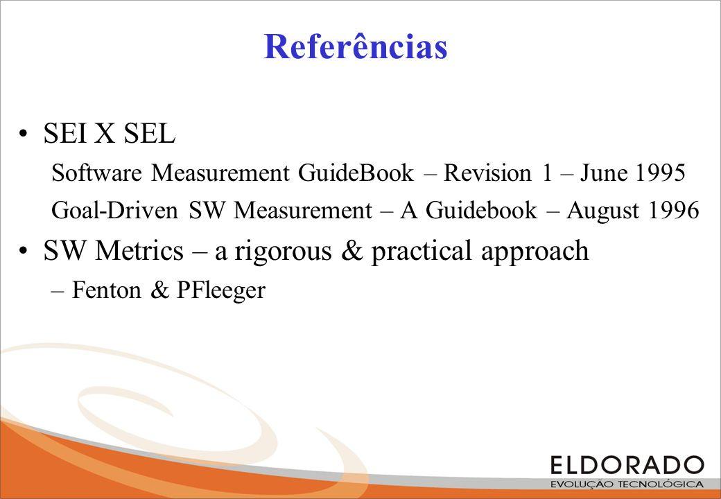 Referências SEI X SEL Software Measurement GuideBook – Revision 1 – June 1995 Goal-Driven SW Measurement – A Guidebook – August 1996 SW Metrics – a ri