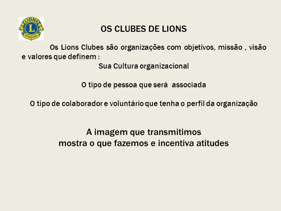 OS CLUBES DE LIONS Os Lions Clubes são organizações com objetivos, missão, visão e valores que definem : Sua Cultura organizacional O tipo de pessoa que será associada O tipo de colaborador e voluntário que tenha o perfil da organização A imagem que transmitimos mostra o que fazemos e incentiva atitudes