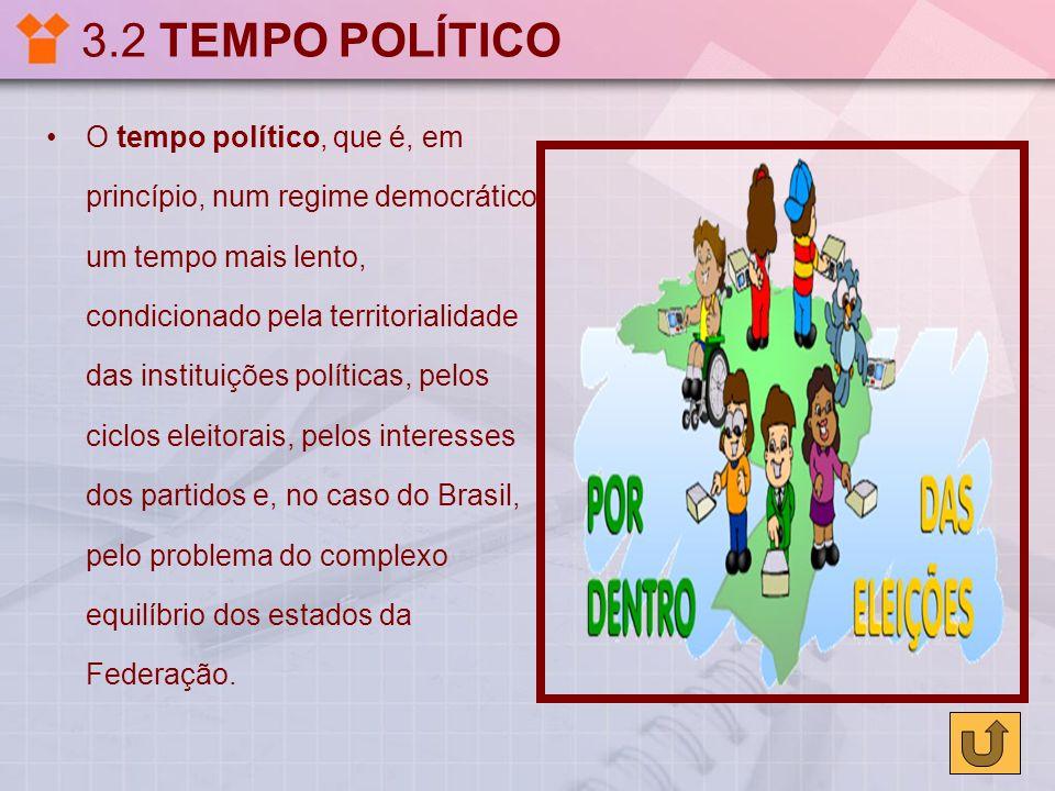 3.2 TEMPO POLÍTICO O tempo político, que é, em princípio, num regime democrático, um tempo mais lento, condicionado pela territorialidade das institui